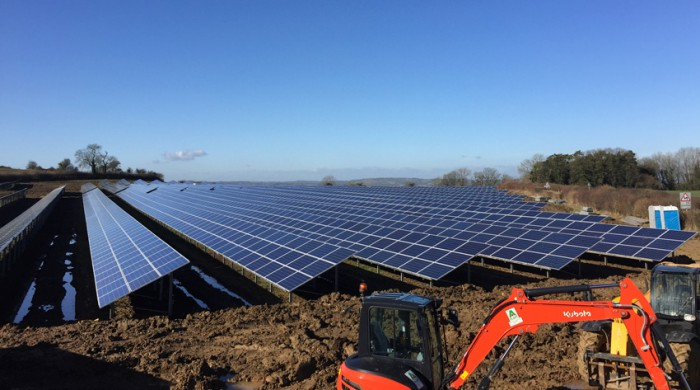 BWCE's Wilmington Farm solar array in place, a 2.34 MW installation, funded by £2.6 million of community investment.