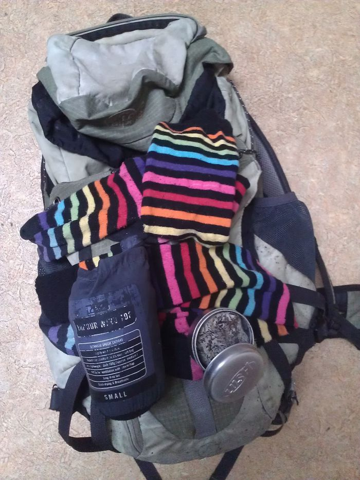 The Storyteller's Rucksack (complete with stripy socks).