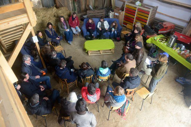 Conversation in the barn. Photo - Joanne Theisen