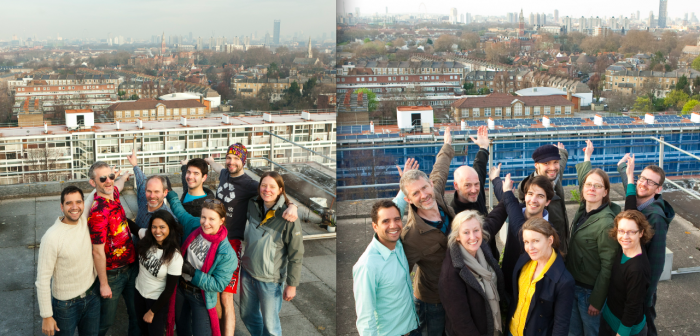 Brixton Energy celebrate the before and after of their first scheme, Brixton Solar 1.