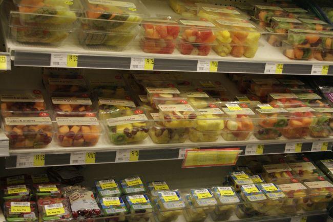 Supermarket fruit salads