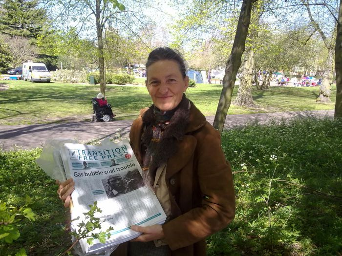 Charlotte Du Cann delivering copies of TFP2 to May Day Fair, Chapelfield Gardens, Norwich