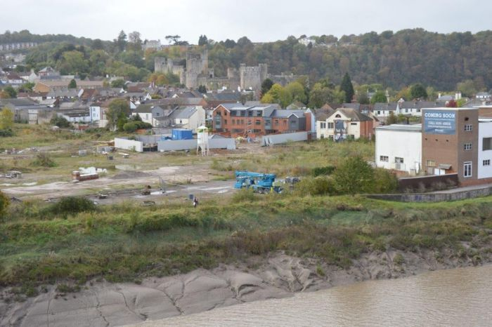 Adjacent site, work commenced but not completed with Chepstow castle in the background.