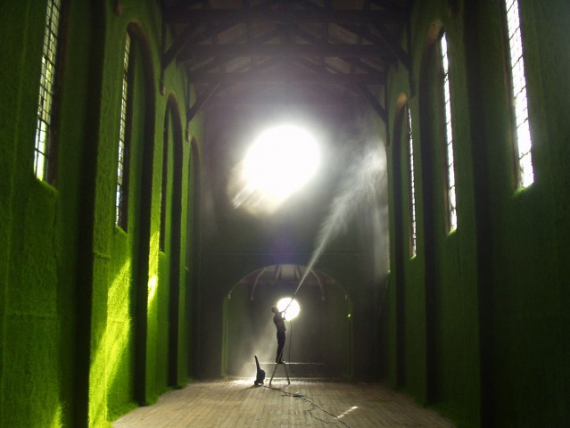 Their 2003 project which transformed the unique site of Dilston Grove, a de-consecrated and now derelict church in Bermondsey, into a verdant green chamber of living grass.
