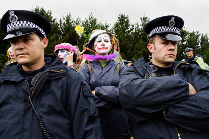 The Clown Army at Gleneagles for the G8 Summit.