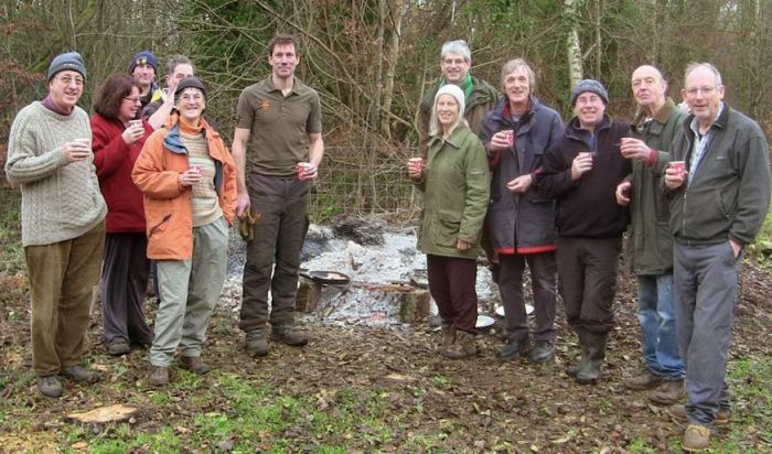 The group of volunteers, supported by Transition Stroud, which has been helping the National Trust with their woodland management in exchange for firewood.