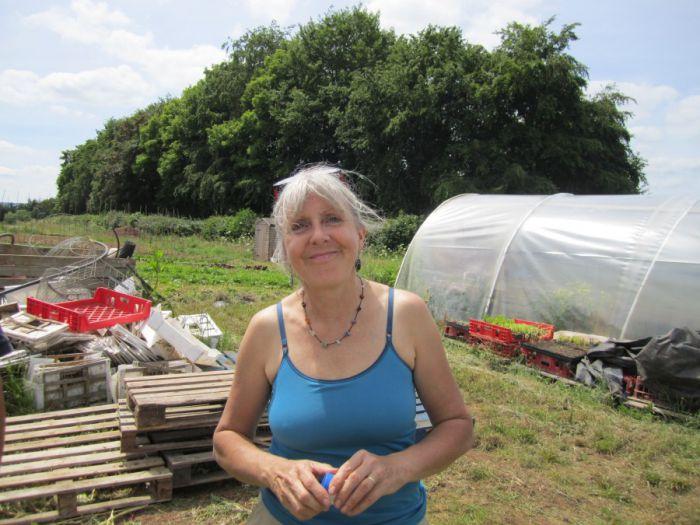 Angela at a community farm in Bristol.