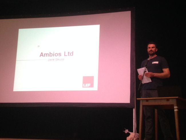 Jack from Ambios Ltd presenting Lower Sharpham Farm.