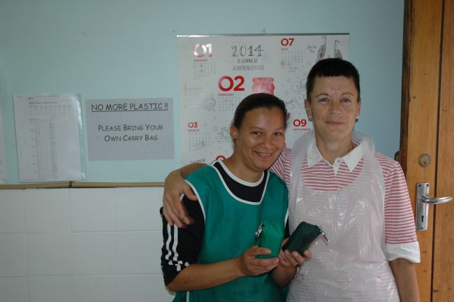 Magda, owner of Greyton Fish and Chip shop and her assistant Cindy