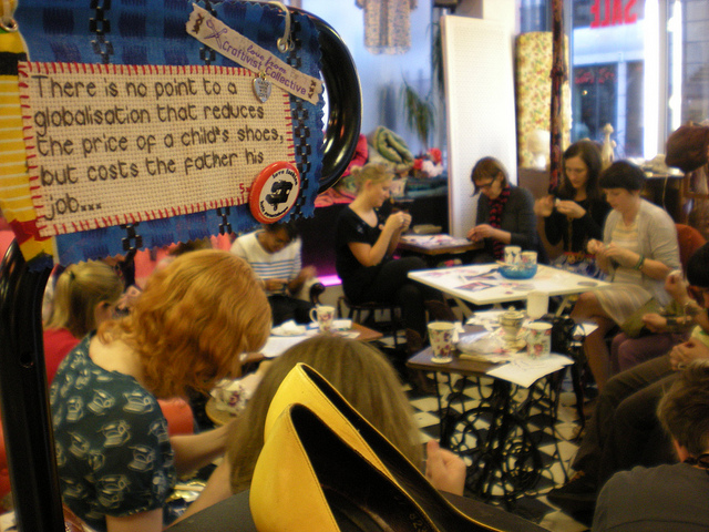 Craftivist meeting at the Paper Dress Boutique in Shoreditch.