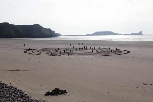 Walking a labyrinth on a Welsh beach.