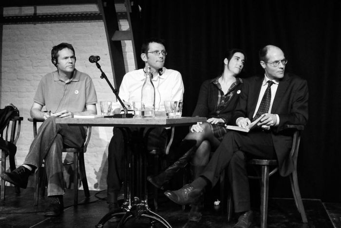 Q&A session with (l-r) Josue Dusoulier, me, Filipa Pimentel and Olivier de Schutter.  Credit: Christiane Désir from BioCough