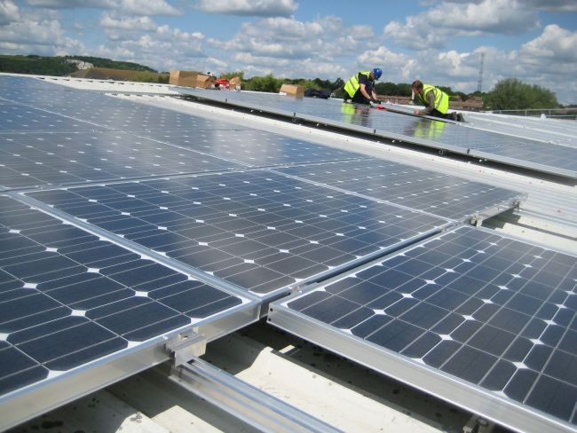 Transition Town Lewes raised £310,000 to cover local brewery Harveys' roof in solar panels. Photo: Southern Solar.
