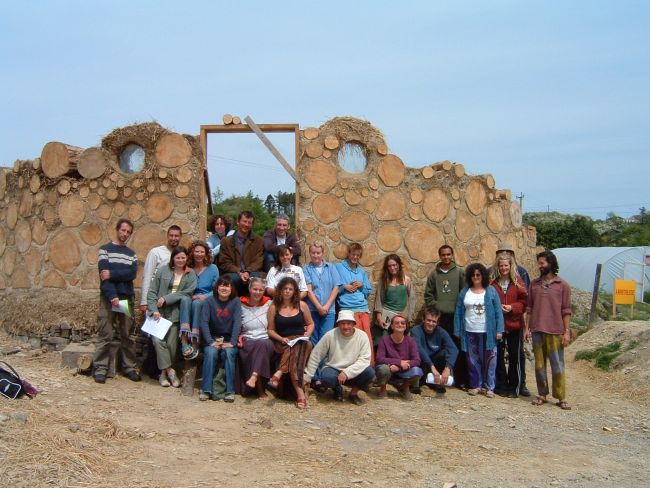 Kinsale Permaculture students 2003-2004 with the amphitheatre under construction.