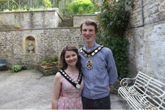 Dickon Moore (22) Mayor of Frome with the Mayoress, his girlfriend Maddy Herbert.