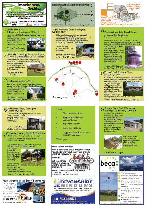 The inside of Transition Town Totnes' Open Eco Homes flyer (takes place last weekend of September).