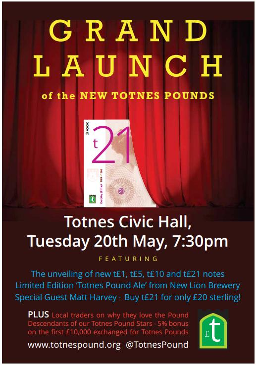 Poster for the upcoming Totnes Pound relaunch.