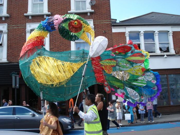 The Sankofa Bird, made from willow and recycled plastic bags, one of the participants in Tooting's Trashcatchers Carnival. Credit: Simon Maggs,
