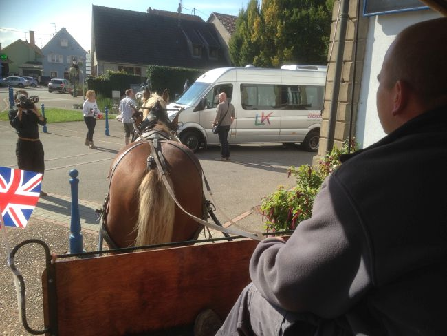 Travelling through Ungersheim by horse power.