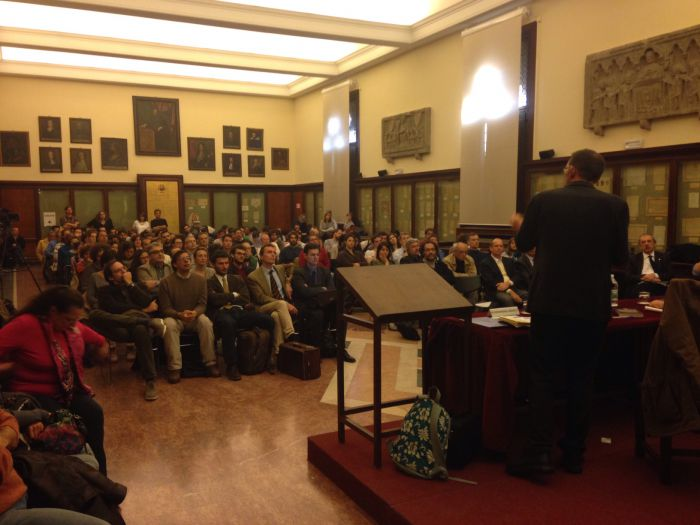 Speaking at the University.