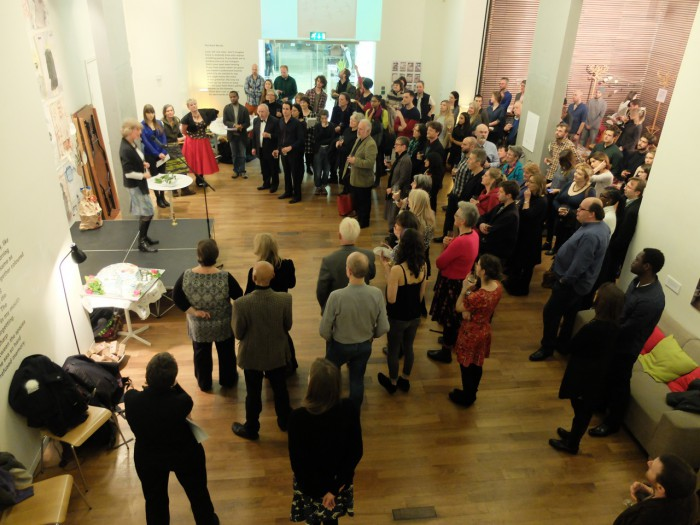 Rose Fenton welcomes guests to Free Word Centre for Launch of Playing for Time: photo by Simon Maggs