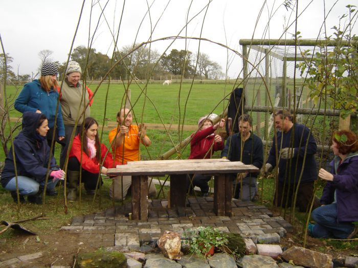 A Transition Town Worthing willow-weaving workshop.