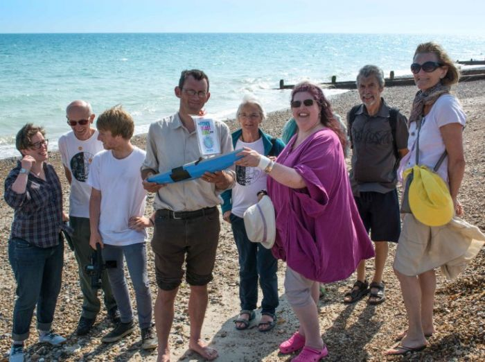 The Worthing Transition Thursday involved attempting to 'launch' The Power of Just Doing Stuff into the sea.  It came back.
