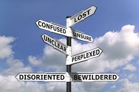 signposts to lost confused unsure bewildered