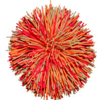 orange rubber ball with tendrils
