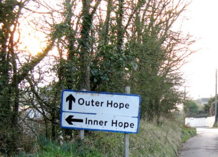 road sign to inner hope outer hope