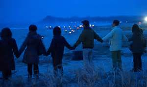 Japanese people hold hand in dusk